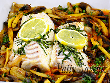 Baked Cod Light Tomato Sauce Sautéed Vegetables small