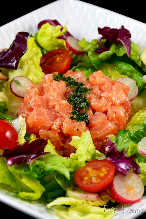Salmon Tartar Over Mixed Salad pint large