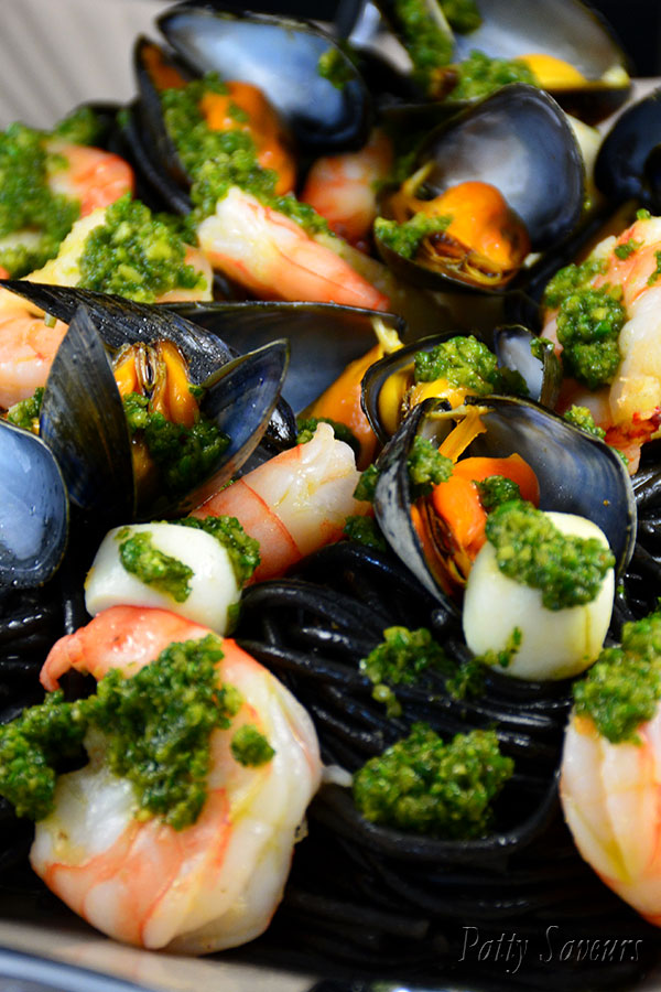 Squid Ink Pasta and Seafood Pinterest