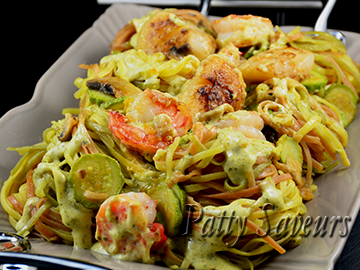 Tricolor Tagliolini – Seafood and Pesto Sauce
